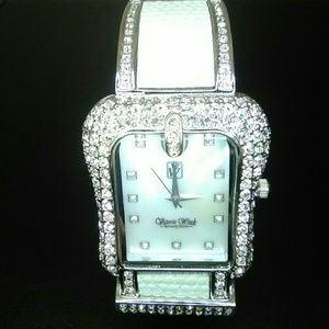 NWOT Crystal Encrusted & Leather Buckle Cuff Watch